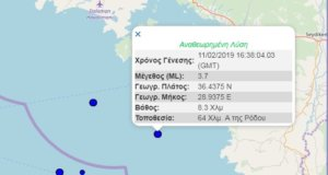 Σεισμός ανοιχτά της Ρόδου