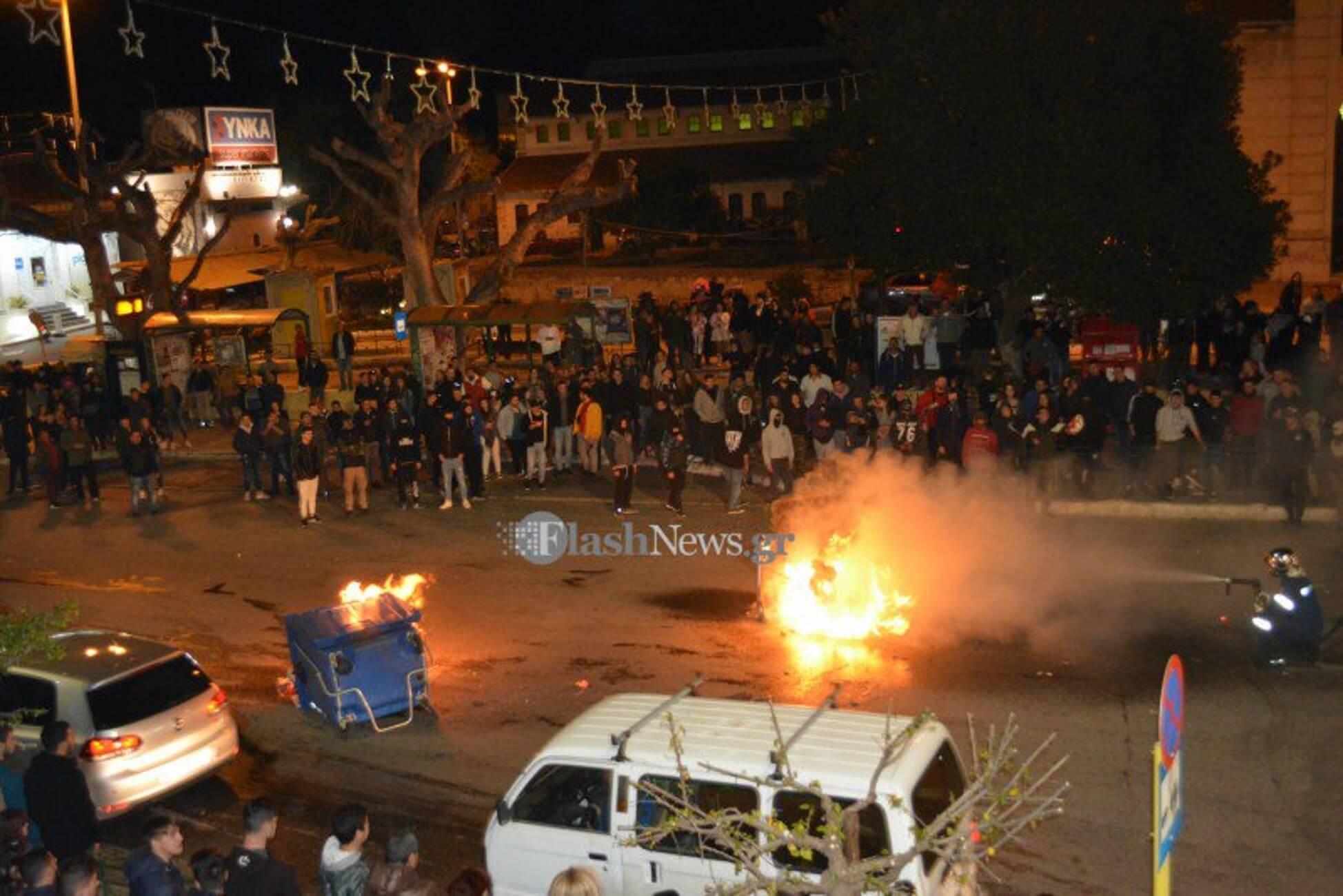 Χανιά: Οι κουκουλοφόροι δεν ήταν μόνο καρναβαλιστές – Επεισόδια και φωτιές μπροστά στην κάμερα [pics, video]