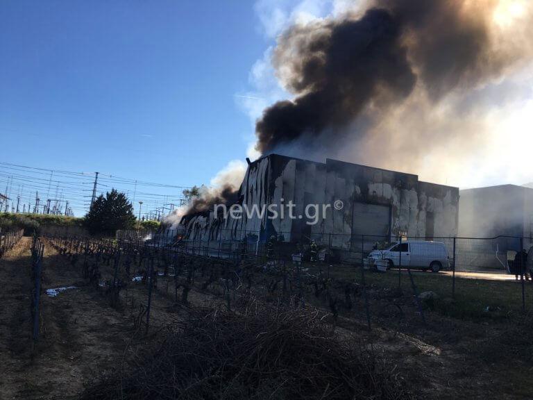 Μεγάλη φωτιά σε εργοστάσιο χαρτικών στην Παιανία [pics, video] | Newsit.gr
