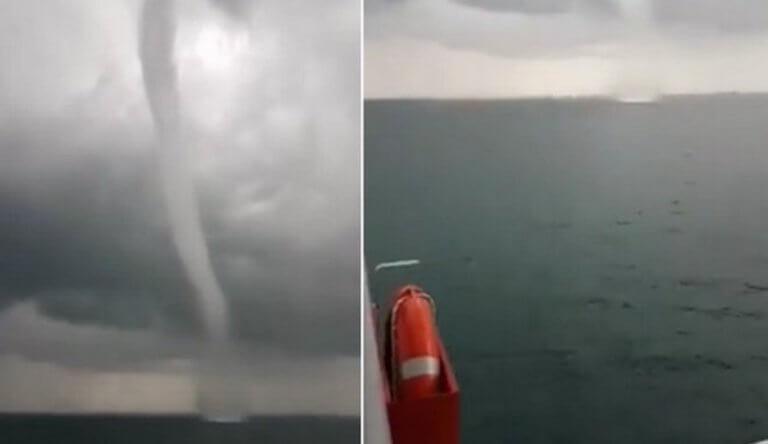 Υδροστρόβιλος «χτύπησε» πλοίο στην Κυλλήνη [video]