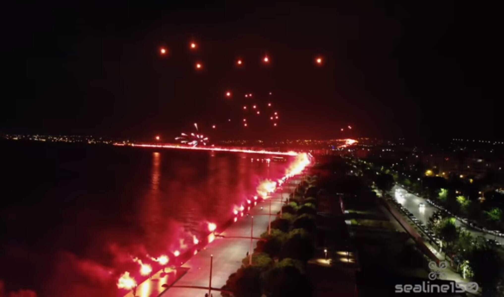 ΠΑΟΚ: Δεν υπάρχουν λόγια! Το απίστευτο pyroshow από… ψηλά – video