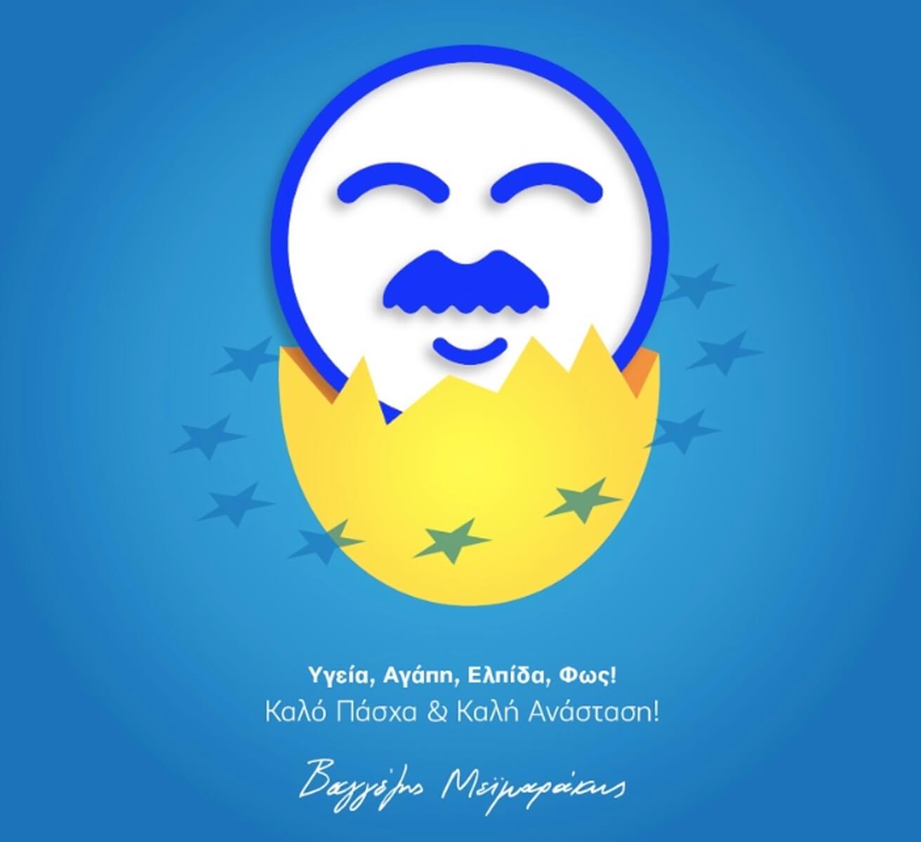 """Βαγγέλη """"έγραψες"""" και φέτος! Ευχές με άρωμα ευρωεκλογών στην κάρτα του Μεϊμαράκη"""