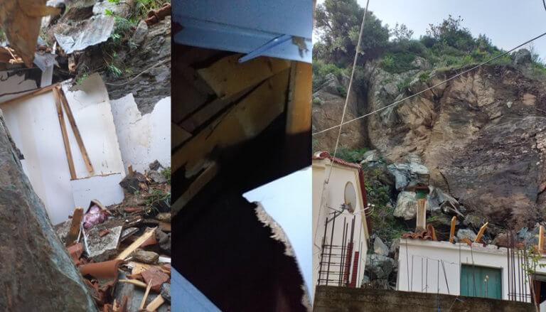 Νύχτα τρόμου και πάλι στο Πλωμάρι – Νέες κατολισθήσεις βράχων [pics]