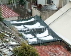 Καιρός: Απίστευτο χαλάζι στο κέντρο της Αθήνας