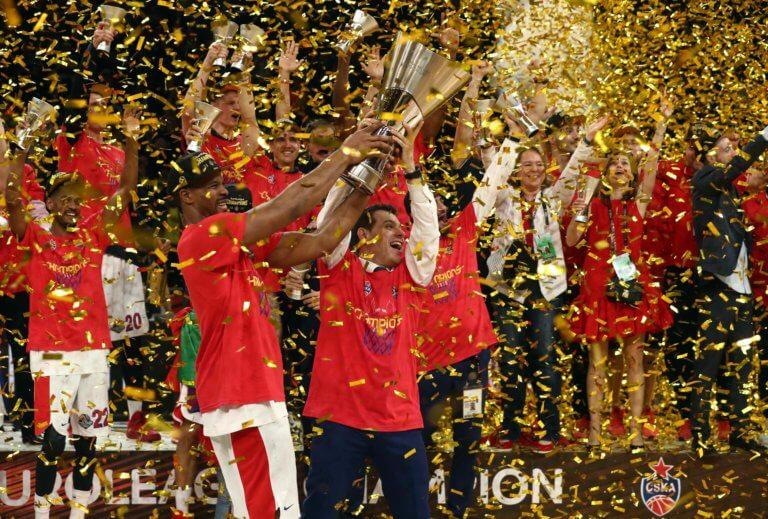 Euroleague: Η απονομή του τροπαίου στην ΤΣΣΚΑ και οι πανηγυρισμοί του Ιτούδη – video