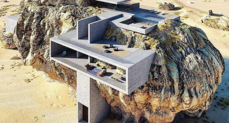 Μια απίστευτη κατοικία ενσωματώνεται σε έναν τεράστιο βράχο