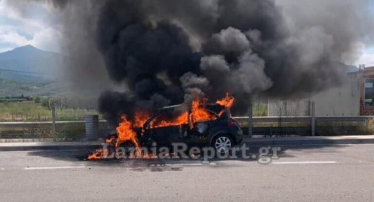 Φθιώτιδα: Λαμπάδιασε αυτοκίνητο στην εθνική οδό!