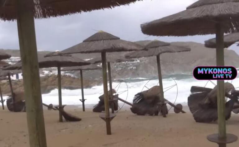 Καιρός: Η θάλασσα βγήκε στη στεριά στη Μύκονο! – video