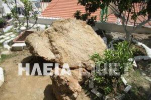 Ζημιές από τους σεισμούς στην Ηλεία – Βράχος έπεσε σε σπίτι!