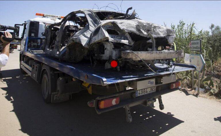 «Σμπαράλια» το αυτοκίνητο του Χοσέ Αντόνιο Ρέγιες! Οι πρώτες εικόνες από τον τόπο του δυστυχήματος