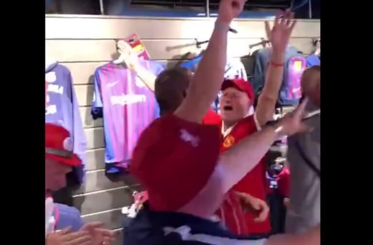 Οπαδοί της Λίβερπουλ πανηγύρισαν μέσα σε μπουτίκ της Μπαρτσελόνα! video