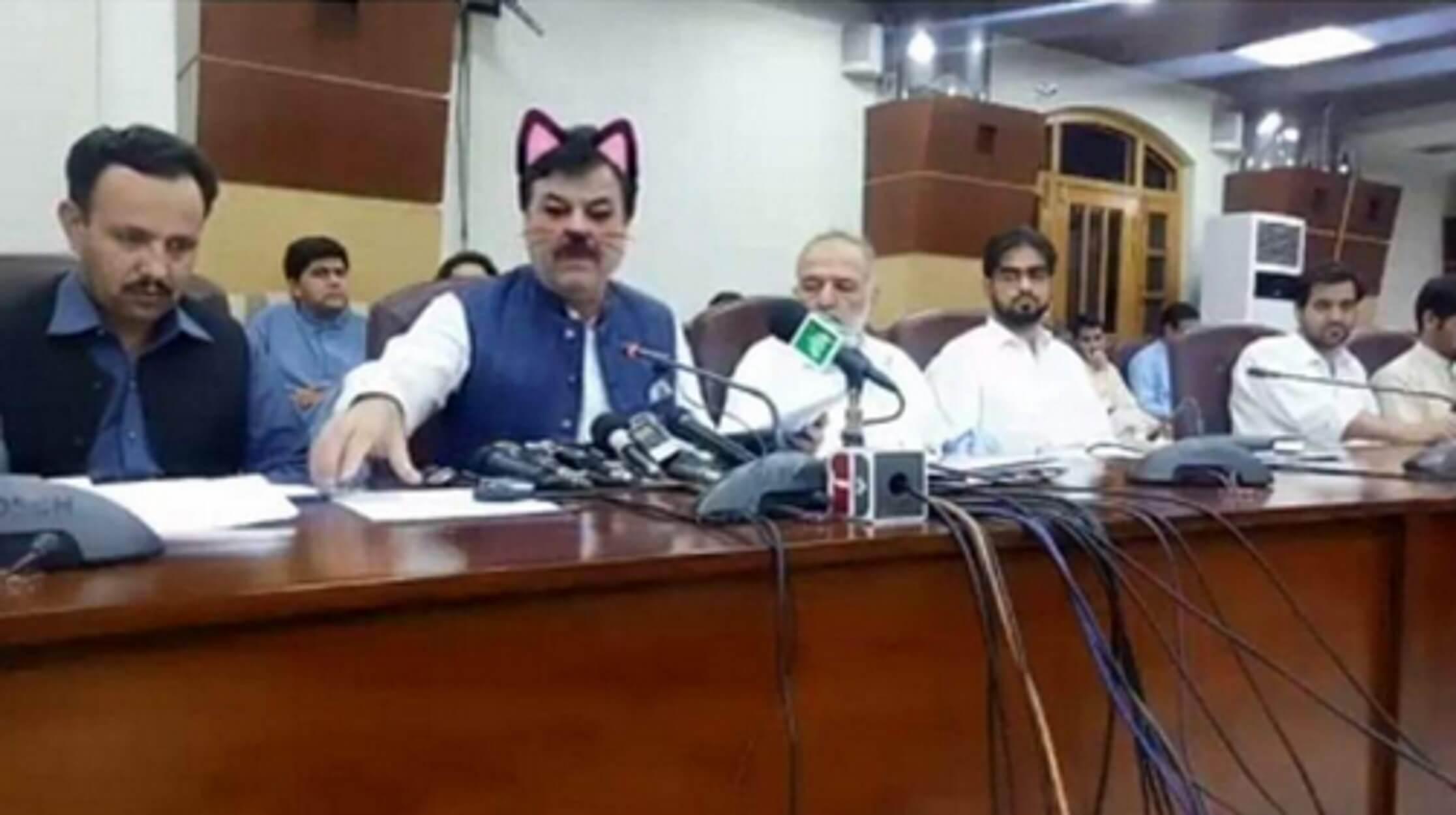 Υπουργός με ροζ αυτάκια και μουστάκια γάτας στη συνέντευξη Τύπου!