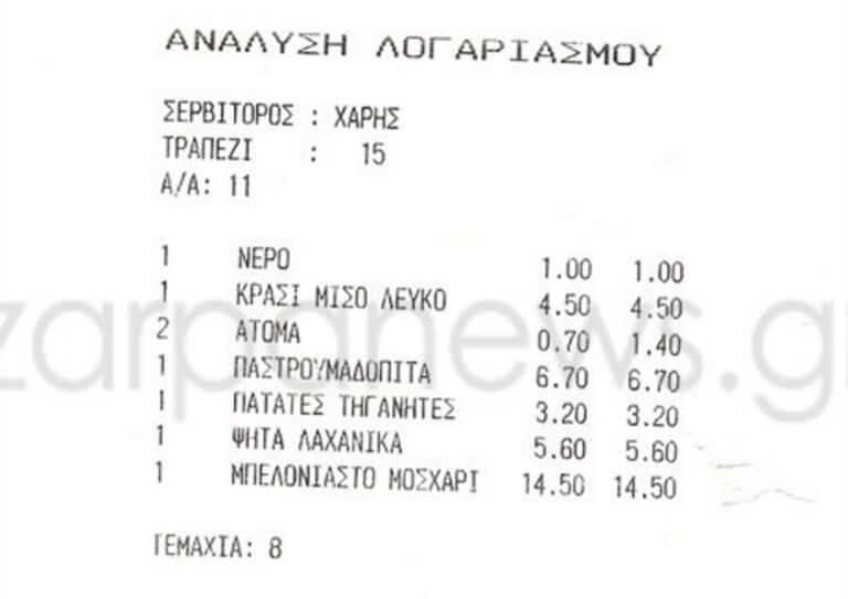 Χανιά: Ο λογαριασμός στο εστιατόριο τον έβαλε σε σκέψεις – Ο διάλογος με τον δασκαλεμένο σερβιτόρο [pics]