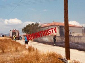 Μεγάλη φωτιά στα Ίσθμια Κορινθίας κοντά σε σπίτια