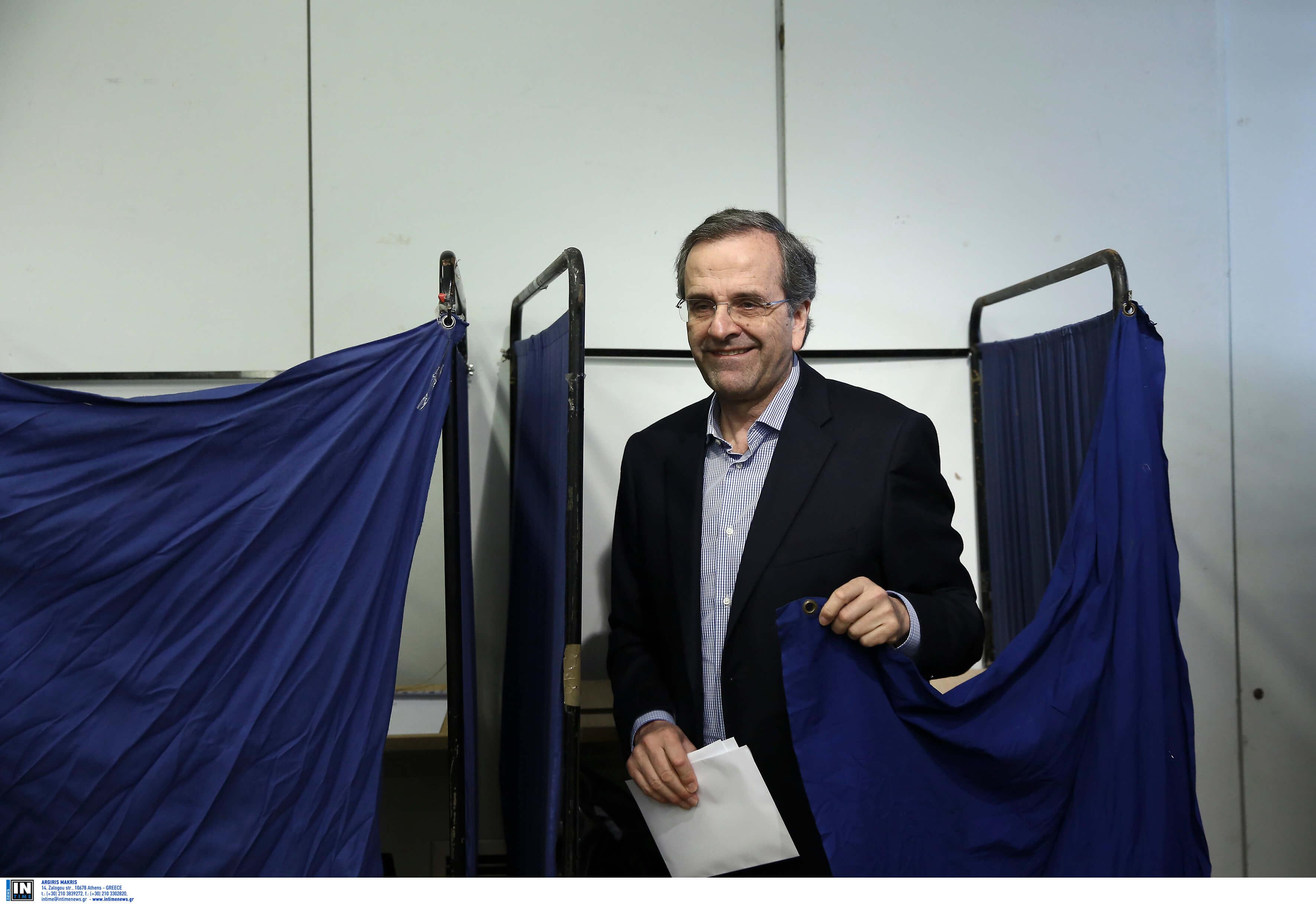 """Εκλογές 2019: """"Σφαίρα"""" ο Αντώνης Σαμαράς – Ψήφισε σε χρόνο ρεκόρ και μίλησε λακωνικά – video"""