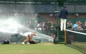 Wimbledon: Ένα… δροσιστικό ατύχημα! Τους έκανε μούσκεμα ο ψεκαστήρας – video