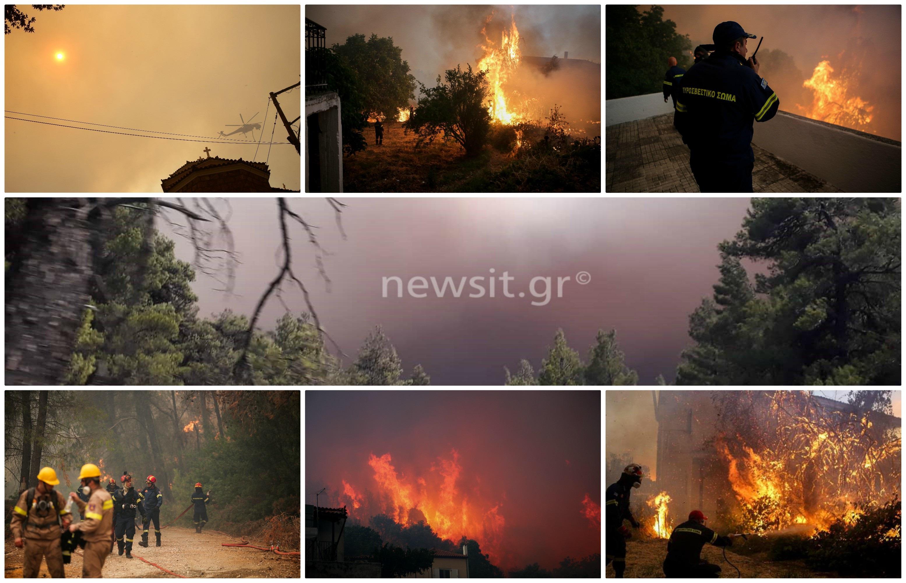 Φωτιά Εύβοια: Σε πύρινο κλοιό το χωριό Μακρυμάλλη