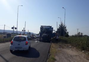 Τρίκαλα: Σύγκρουση δυο φορτηγών στην εθνική οδό Τρικάλων – Καλαμπάκας
