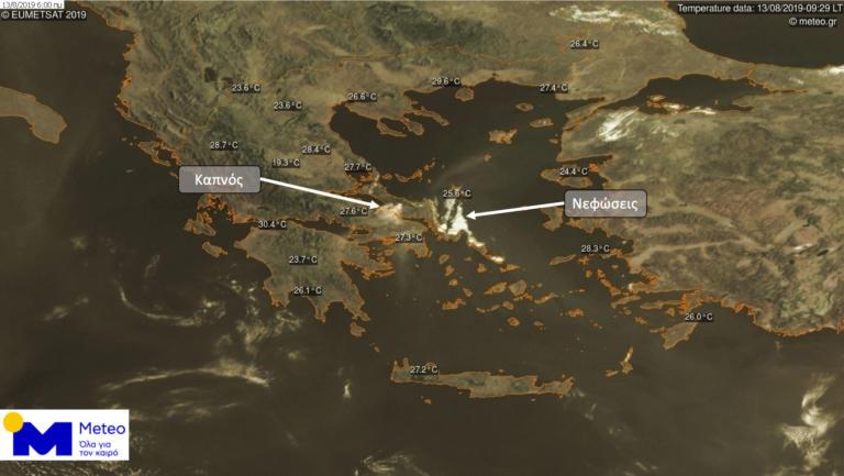 Η φωτιά στην Εύβοια από δορυφόρο – «Πνίγεται» και η Αττική από τον καπνό! [pics]
