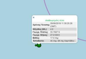 Σεισμός στα Δωδεκάνησα, κοντά στην Κάρπαθο – Κουνήθηκε και η Ρόδος