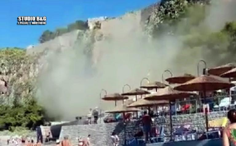 Ναύπλιο: Η στιγμή της κατολίσθησης στο γύρο της Αρβανιτιάς – video