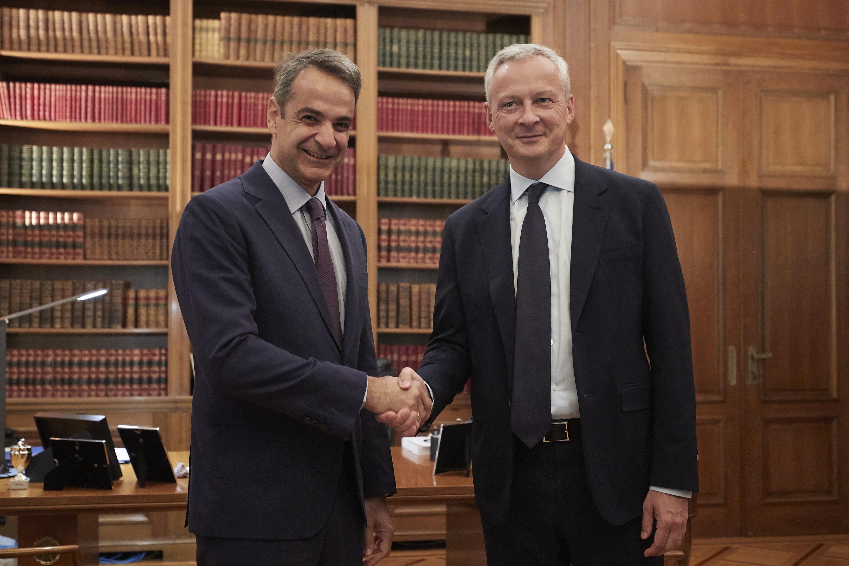 Με τον Γάλλο υπουργό Οικονομικών Μπρούνο Λε Μερ συναντήθηκε ο Μητσοτάκης [pics]