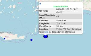Σεισμός τώρα ανοιχτά της Καρπάθου!