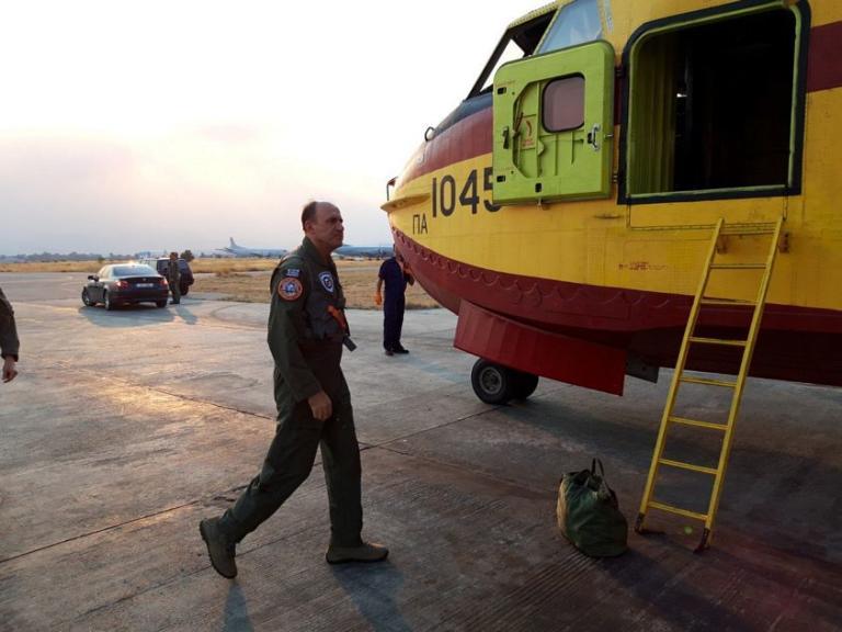 Πτήση του Αρχηγού ΓΕΑ με Αεροσκάφος CL-215 πάνω από την Εύβοια