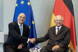 Με τον πρόεδρο της Bundestag Βόλφγκανγκ Σόιμπλε συναντήθηκε ο Νίκος Δένδιας