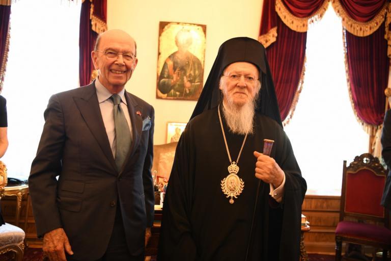 Φανάρι: Δεκτός από τον Οικουμενικό Πατριάρχη ο Αμερικανός υπουργός Εμπορίου