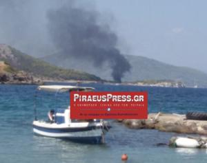 Φωτιά σε σκάφος στην Αίγινα