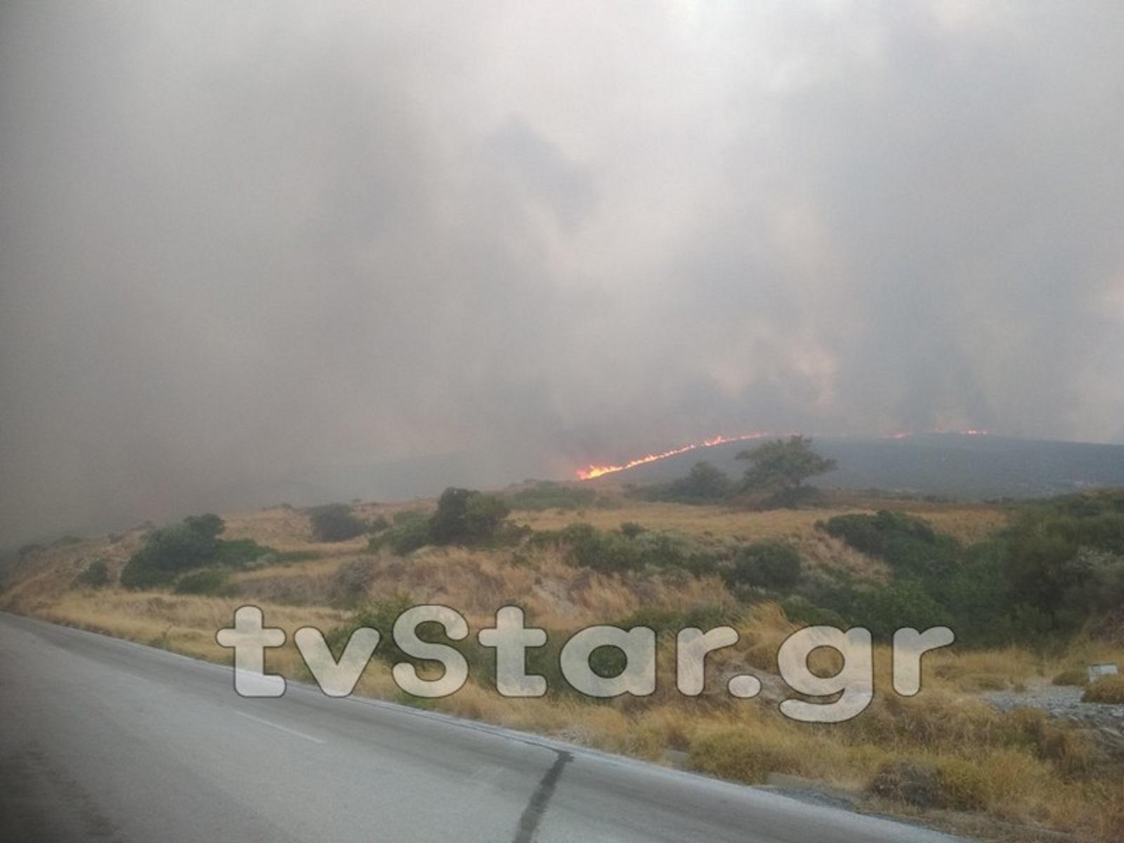Με πολλές εστίες και δυνατό αέρα πάλευαν οι πυροσβέστες στην Κάρυστο