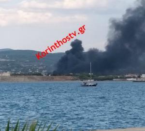 Λουτράκι: Φωτιά δίπλα στην Σχολή Μηχανικού – video