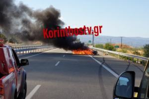 Τροχαίο Εθνική Οδός: Νεκρός σε αυτό το φλεγόμενο αυτοκίνητο – Εικόνες σοκ και ατελείωτο μποτιλιάρισμα [pics]