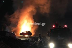 Θεσσαλονίκη: Τρόμος από μεγάλη φωτιά σε εργοστάσιο – Ολονύχτια μάχη με τις φλόγες [pics, video]