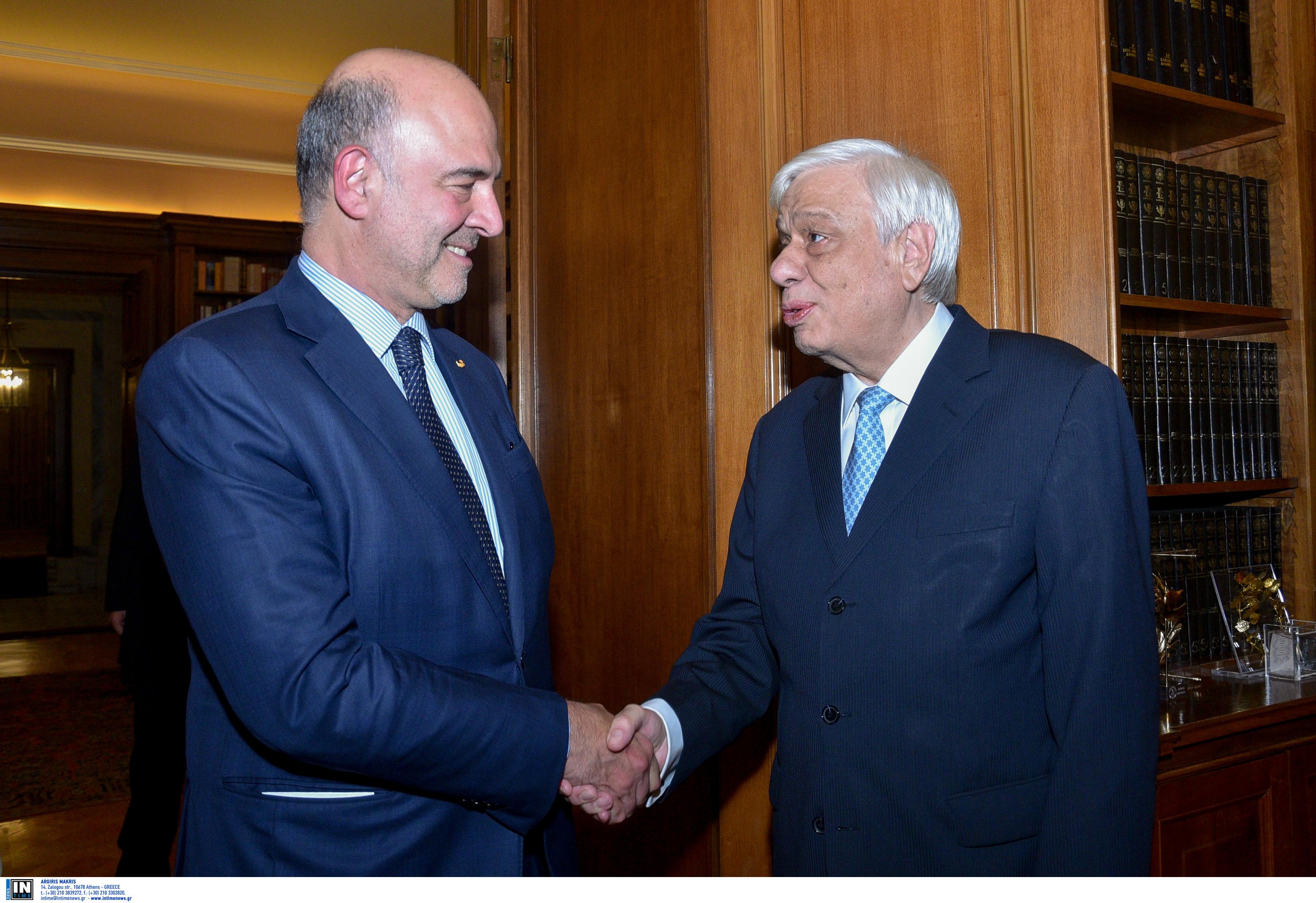 """Συνάντηση Παυλόπουλου - Μοσκοβισί στο Προεδρικό Μέγαρο - """"Θα είμαι πάντα φίλος της Ελλάδας"""" [pics]"""