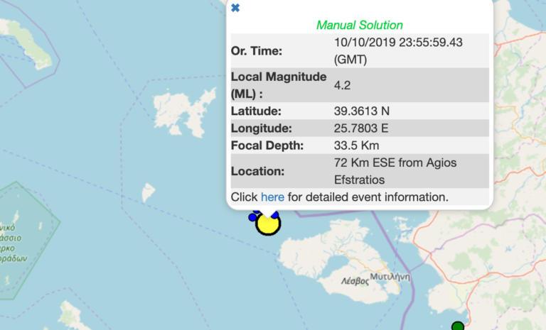 Σεισμός 4,2 Ρίχτερ στη Λέσβο