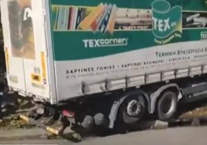 Ανατροπή φορτηγού στη λεωφόρο Κηφισού