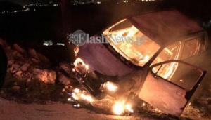 Κρήτη: Έπεσε στον γκρεμό, πήρε φωτιά το αυτοκίνητο του και… γλίτωσε! [Pics]