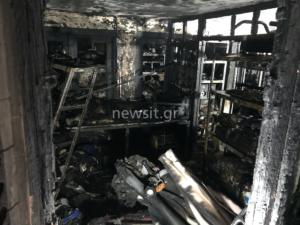 Φωτιά στην Κυψέλη: Εικόνες απόλυτης καταστροφής – Τρεις τραυματίες