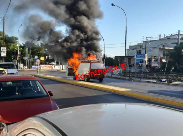 Κιάτο: Φορτηγό πήρε φωτιά εν κινήσει! Σοκαριστικές εικόνες