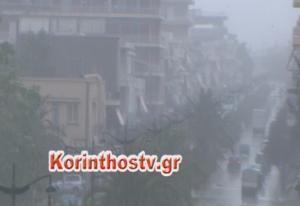 Καιρός: Άνοιξαν οι ουρανοί και στην Κορινθία! Πλημμυρισμένοι δρόμοι και χαλάζι σε Κόρινθο – Νεμέα
