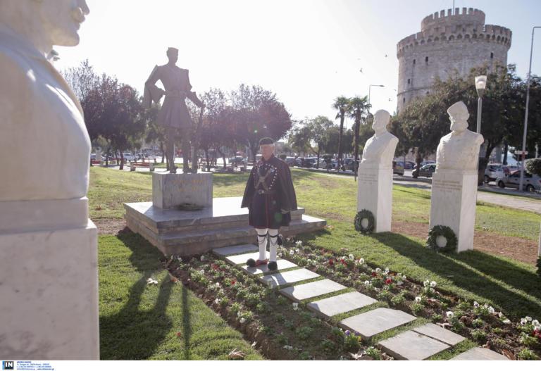 Θεσσαλονίκη: Αποκαλυπτήρια των προτομών έξι Μακεδονομάχων στην πλατεία Τσιρογιάννη [pics, video]
