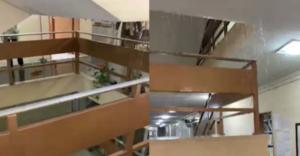 Λάρισα: Η στιγμή που βρέχει μέσα στα δικαστήρια! Υπάλληλοι τρέχουν και δεν προλαβαίνουν [video]