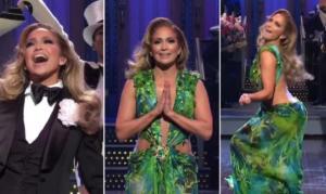 H Jennifer Lopez σε ρόλο παρουσιάστριας με σμόκιν και το iconic Versace φόρεμα! [video]