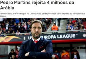 """Ολυμπιακός: """"Είπε όχι σε 4.000.000 ευρώ ο Μαρτίνς!"""""""