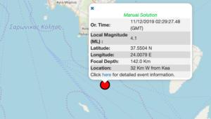 Σεισμός 4,1 Ρίχτερ ανοιχτά της Τζιάς