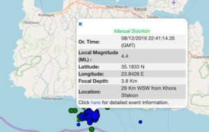 Σεισμός ξανά στην Κρήτη! 4,4 Ρίχτερ τα μεσάνυχτα