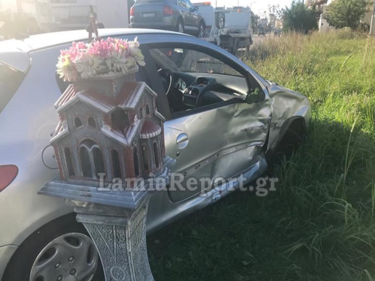 """Λαμία: Τροχαίο με δύο τραυματίες σε διασταύρωση """"καρμανιόλα""""! pics"""