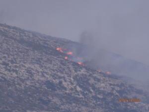 Νάξος: Φωτιά μέσα στο καταχείμωνο προσπαθούν να σβήσουν οι πυροσβέστες του νησιού